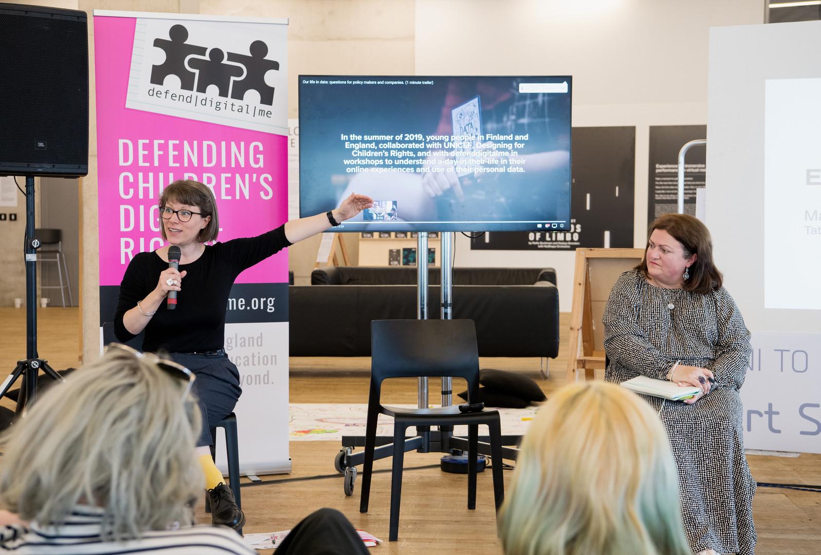Ethics of Children's Data panel (from left to right: Renata Samson (Open Data Institute), Jen Perrson (DefendDigitalMe)) - Photo: Alex Wojcik