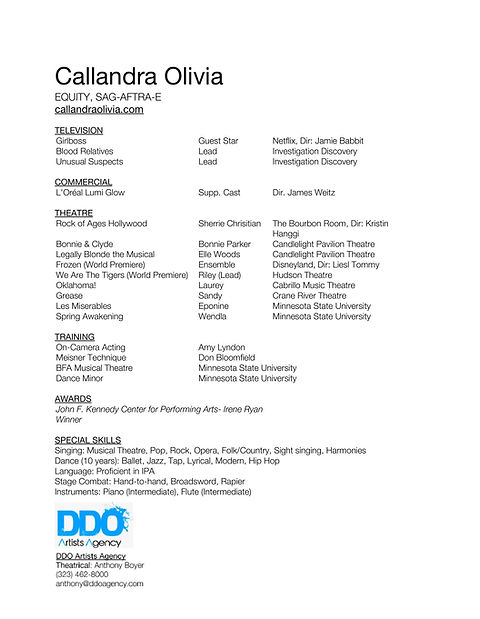 Callandra Olivia Resume