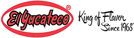 El Yucateco Hot Sauce logo with red and black text on a white background. King of Flavor Since 1968 motto in black script on right side of logo.
