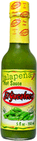 Mexican hot sauce brand El Yucateco Jalapeno Hot Sauce bottle with green sauce and yellow label.