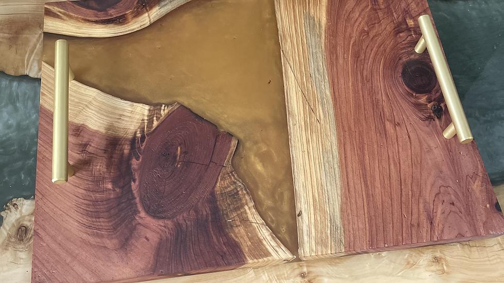 Cedar Charcuterie Board w/ Gold Epoxy