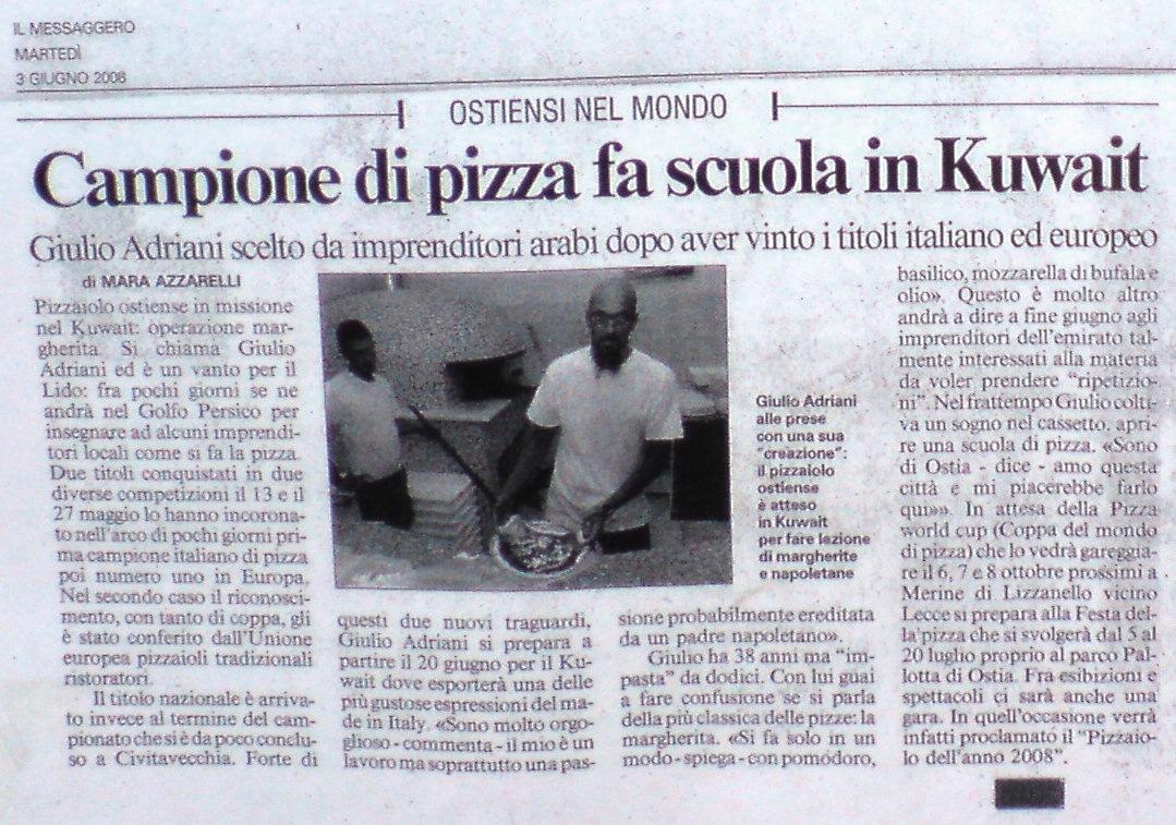 Campione di pizza fa scuola in Kuwait.
