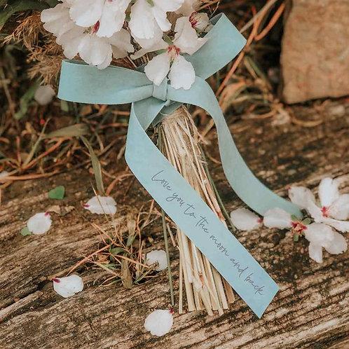 Cinta celeste personalizada ramo de novia