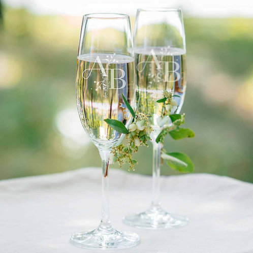 Copas con logotipo de boda - Iniciales y fecha grabadas para brindis