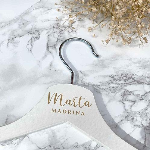 Percha Personalizada Blanca de Madera + gancho plateado
