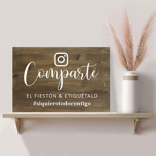 Cartel Comparte Hashtag de Madera