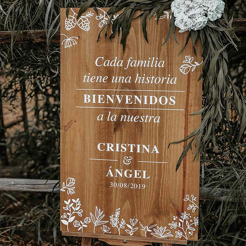 """Cartel """"Cada familia tiene una historia"""" de Madera"""