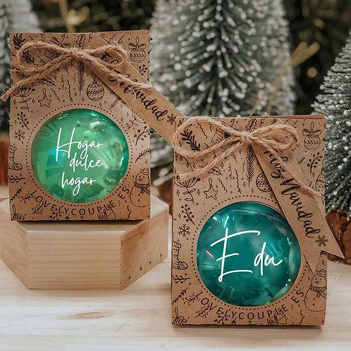 Bola verde mint espejo de navidad  personalizada