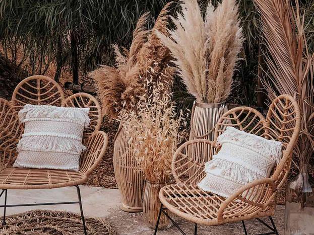 corner sillas flor ratan mimbre boda alq