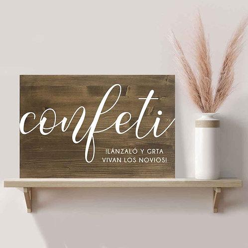 Cartel Confeti Boda de Madera