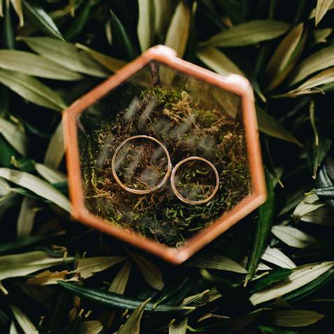 porta alianzas cristal hexagonal cobre o