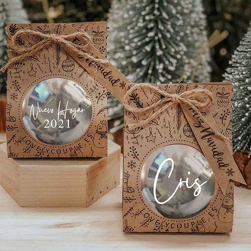 Bola plateada de navidad  personalizada