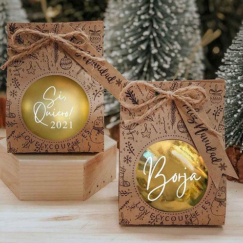 Bola dorada de navidad  personalizada
