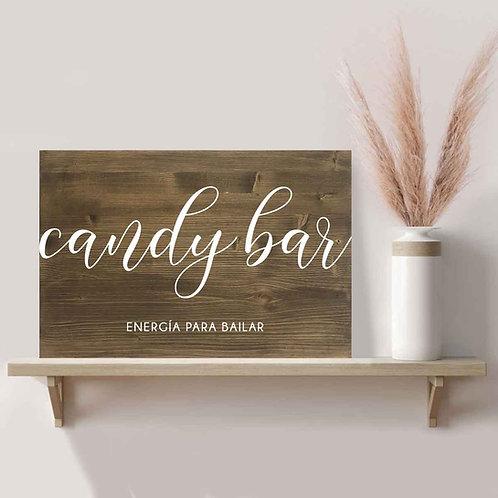 Cartel Candy Bar Boda de Madera
