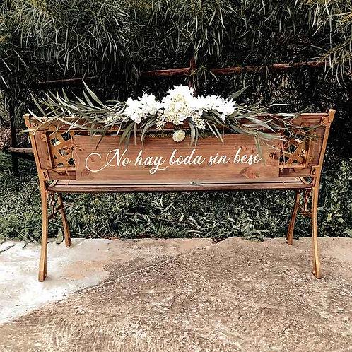 """Cartel """"No hay boda sin beso""""de Madera"""