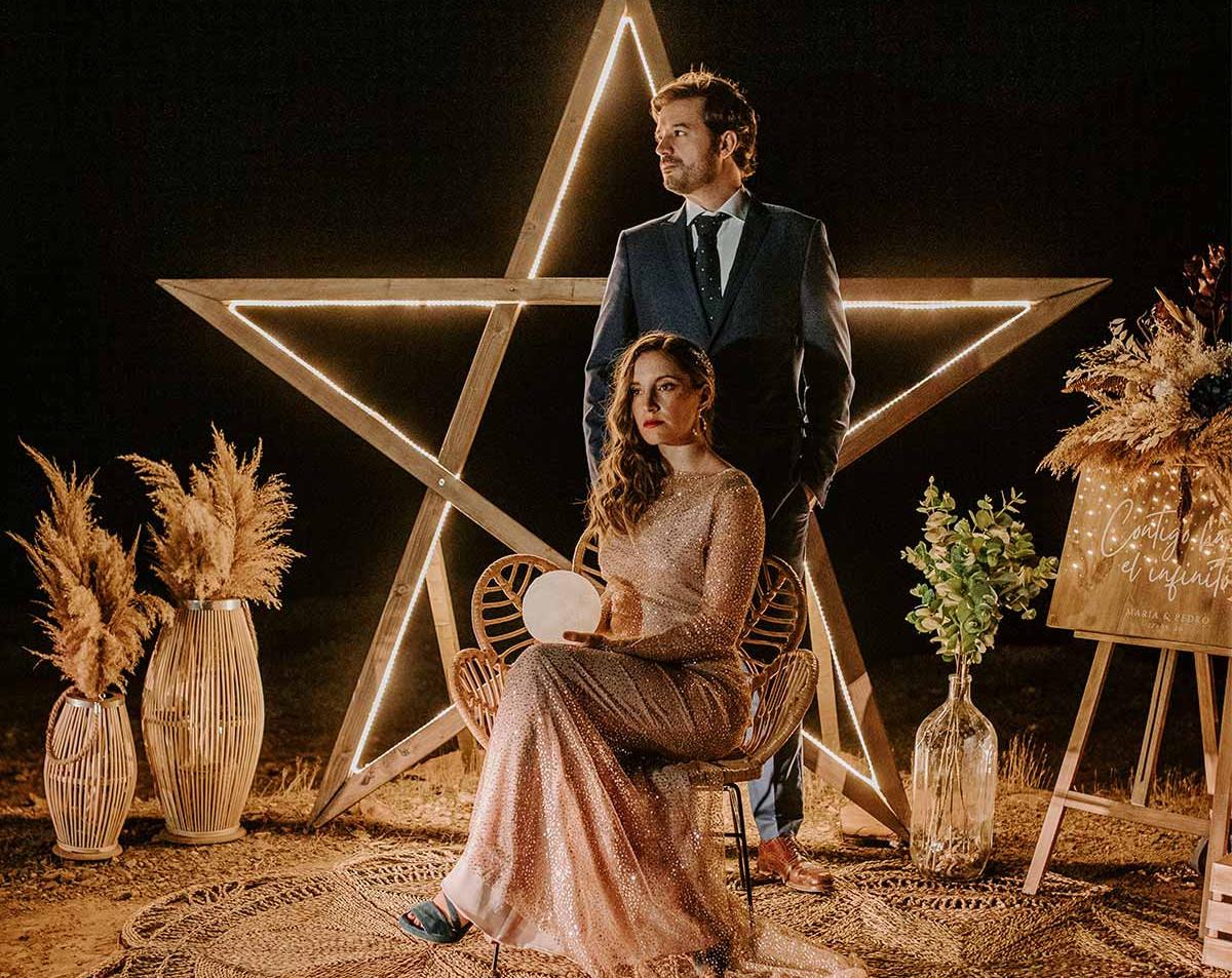 arco estrella boda photocall led luces i