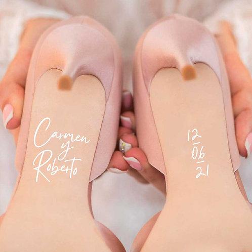 """Pegatinas para Zapatos """"Nombre y fecha"""""""