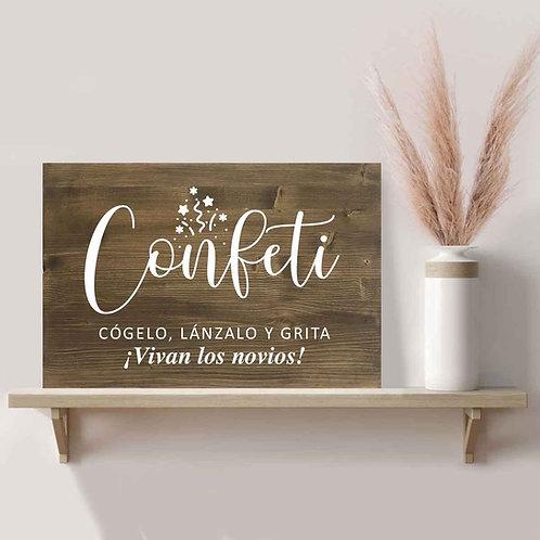 Cartel Confeti de Madera