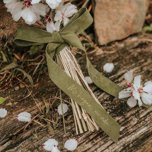 Cinta verde personalizada ramo de novia