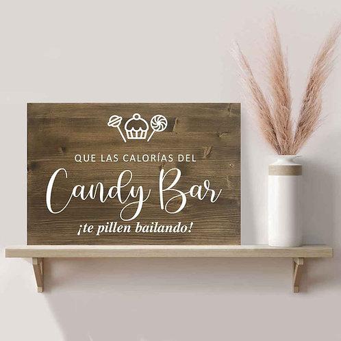 Cartel Candy bar de Madera