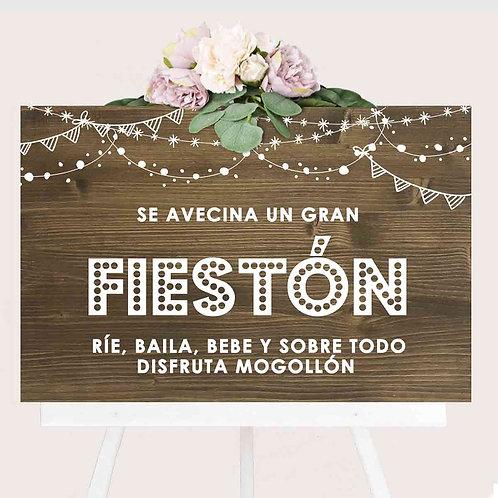 """Cartel """"Fiestón"""" de Madera"""