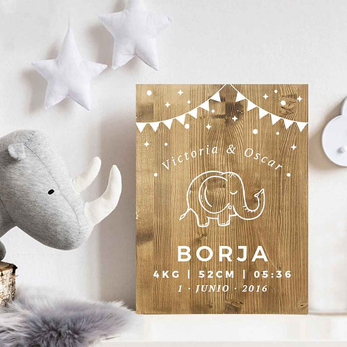 Natalicio Elefante - Cartel Bebé Recién Nacido