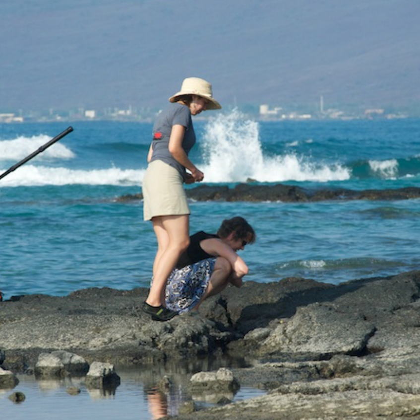 Pam, Mia and Spencer inspect the tidepools