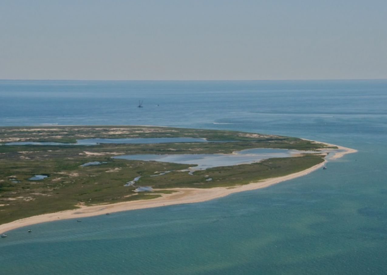 Birds eye view of Monomoy Point, Powder hole