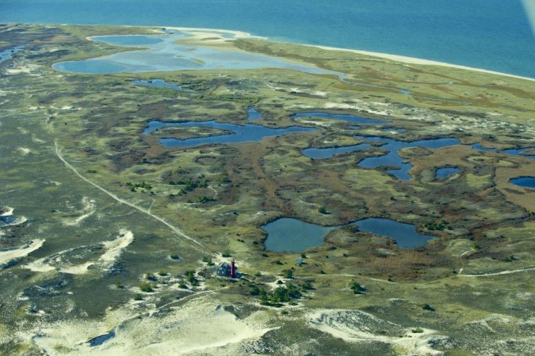 """Monomoy National Wildlife Refuge looking southwest to the """"Powderhole"""", a prime stopping off point for southbound migrating birds in late summer and fall."""