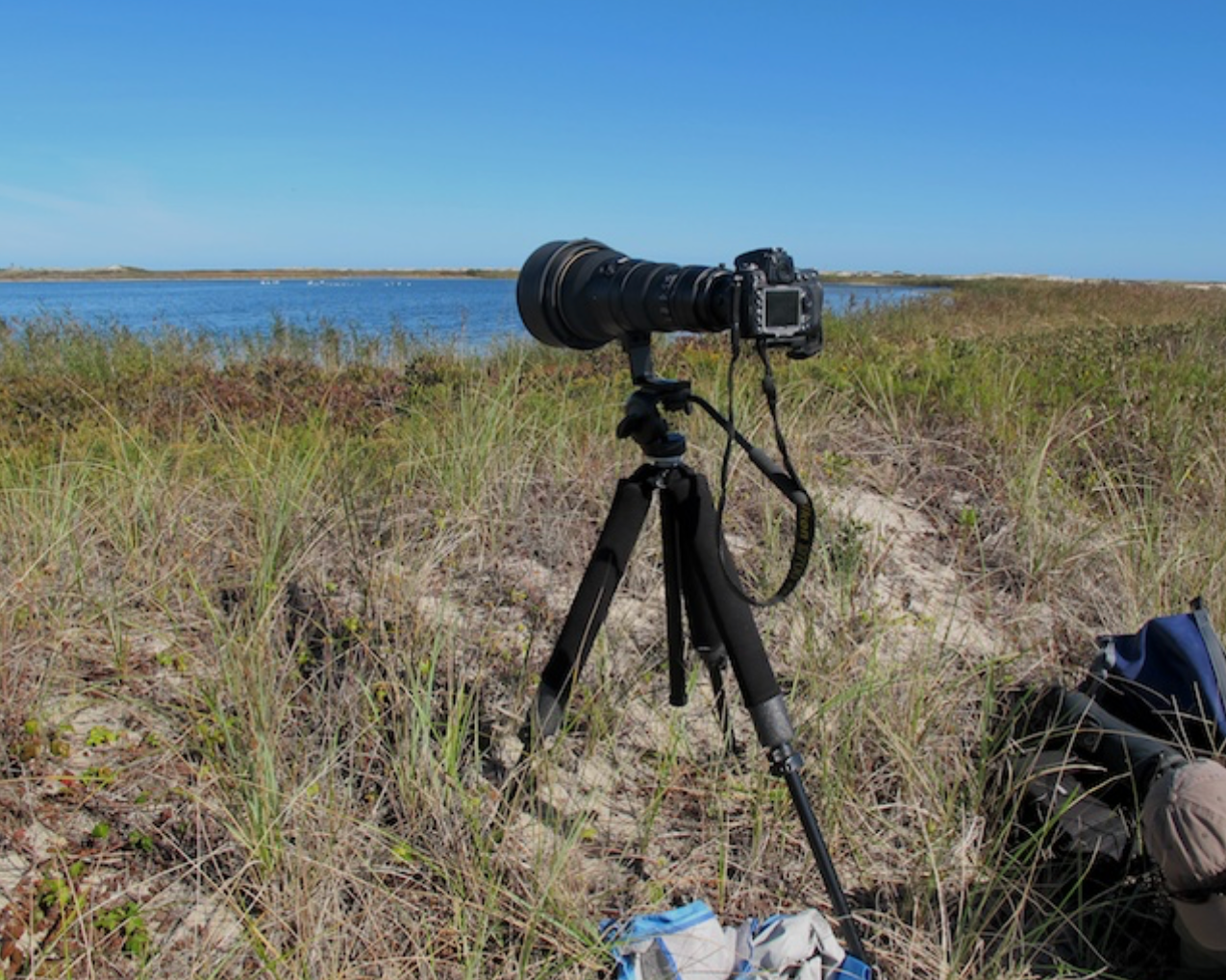 Set up for watching waterfowl at the Powderhole, MNWR