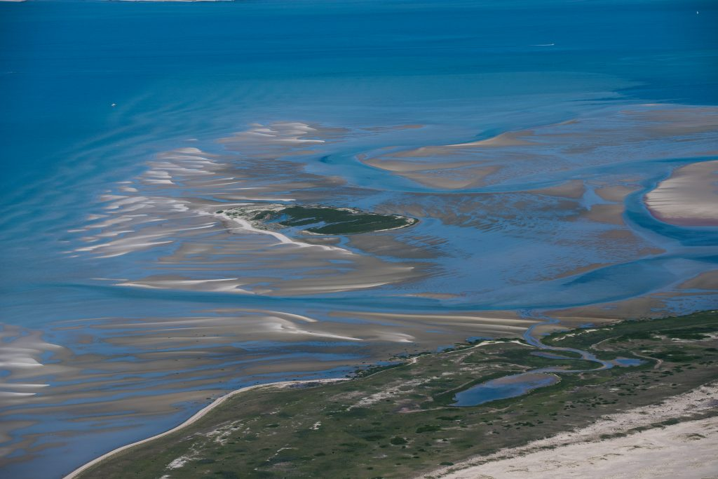The Common Flat, our favorite sand bar as seen from the air at low water, -Nantucket Sound, near Chatham, Cape Cod (June 2016)