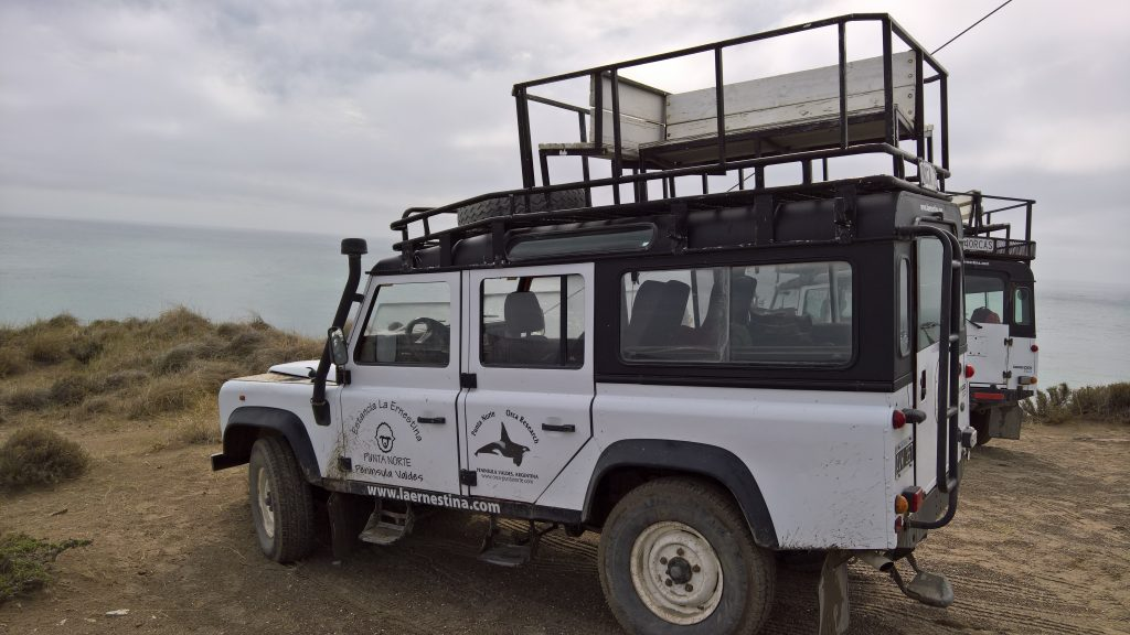 """Our Land Rover """"chariots"""" for daily searches for orca on a coastline that covered about 20 kilometers."""