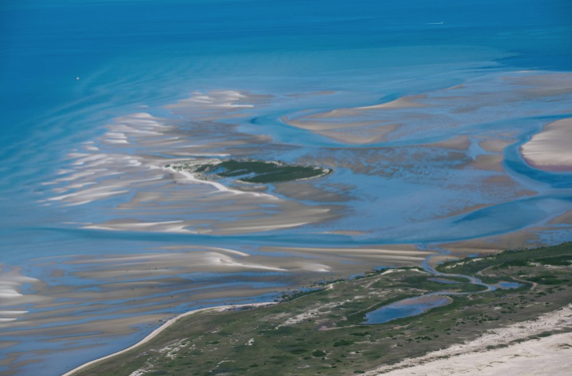 Aeiral view of the Common Flat sand bar system off of North Monomoy Island at low tide.