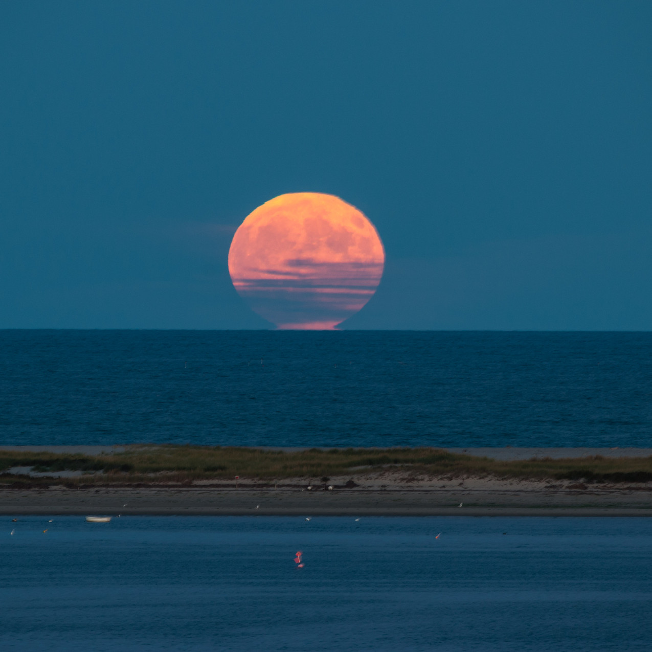 Strawberry Full Moon rise out of the Atlantic. - Chatham, Cape Cod