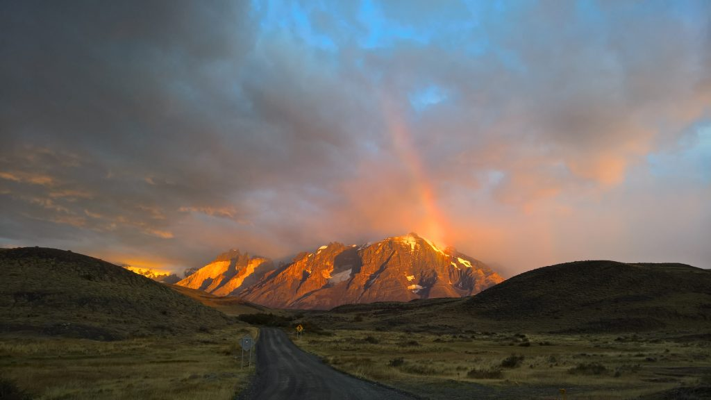 ainbow at dawn in Patagonia -Torres del Paine, Chile (March 2016)