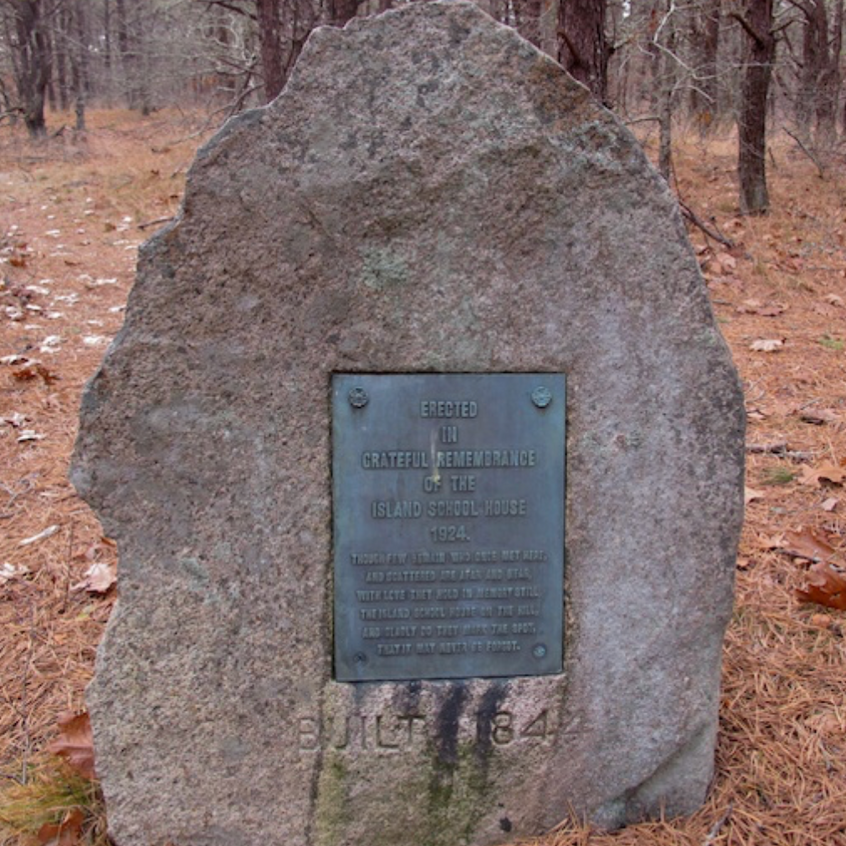 Monument to one of the old schools of Wellfleet that once occupied this wild site