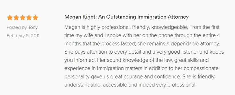 Megan Kight immigration attorney BKR AVVO review Broyles Kight Ricafort Indianapolis