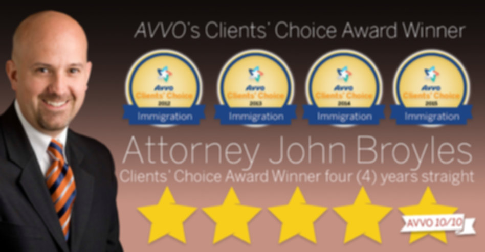 AVVO reviews John Broyles immigration attorney 10.0