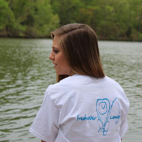 Women's Freshwater Signature White Round Neck Shirt