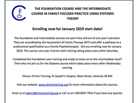 Enrolling now for January 2019  - Family Focused Practice using Systemic Theory Foundation and Diplo