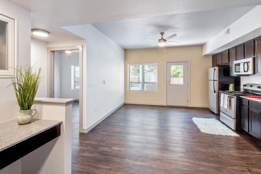 An empty apartment showing part of the floor plan