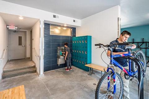 Bike repair, locker, and water station.