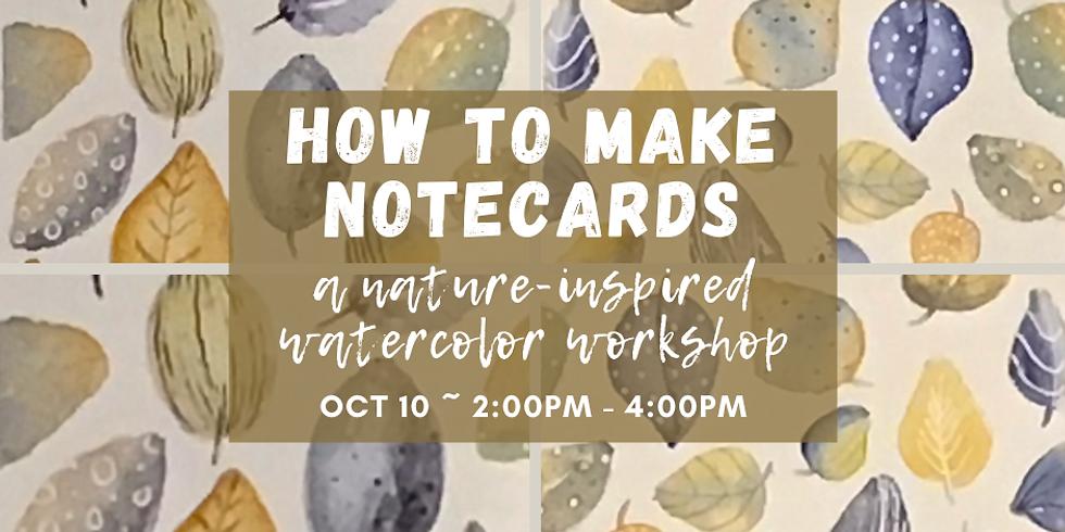 Watercolor Leaf Notecards + Envelopes