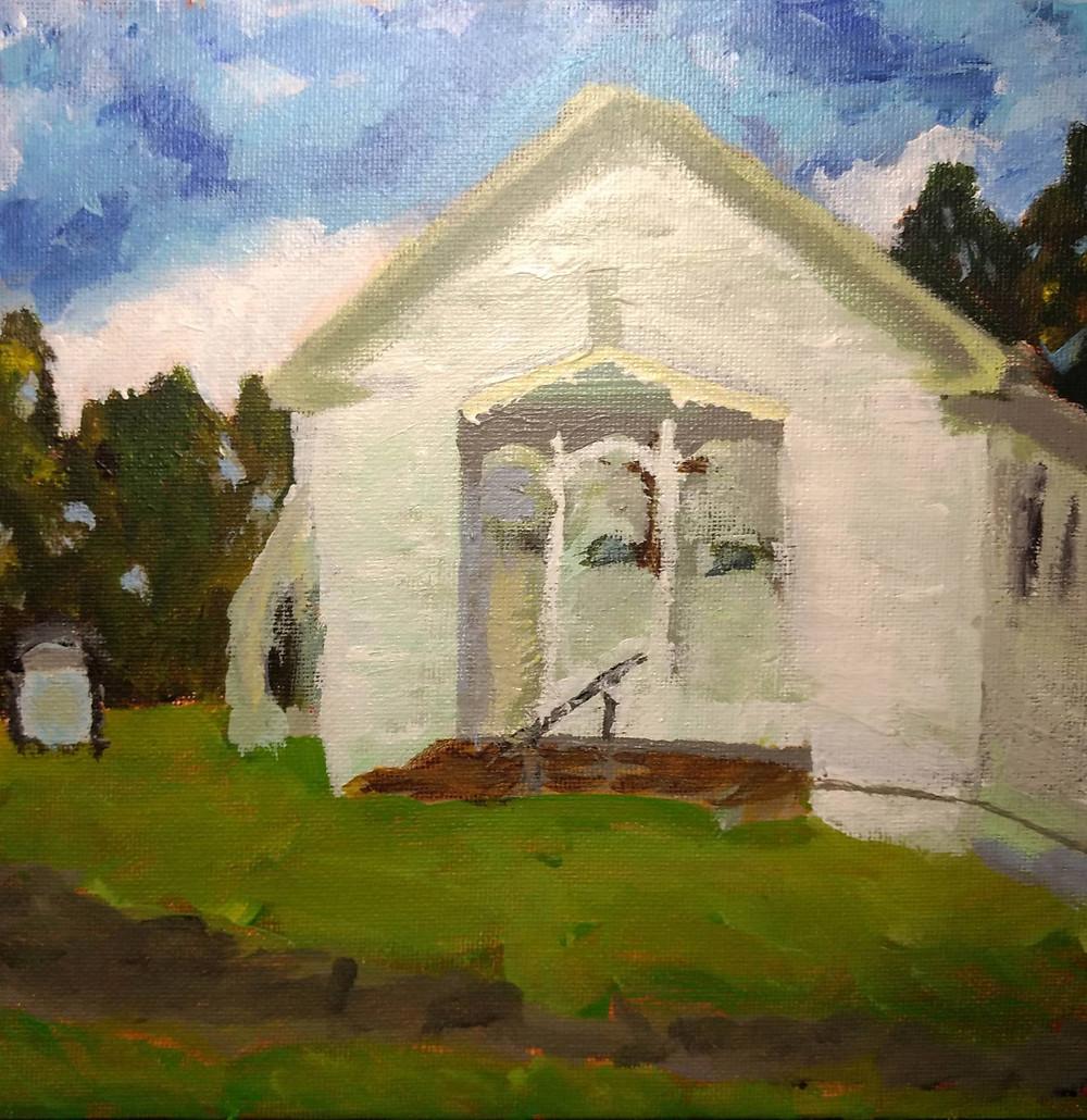 3 churches - Cobbs Chapel Methodist - Santa Fe-Actual Painting 8x8-1