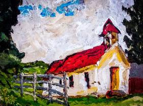 2 churches - Rutledge TN-Actual Painting