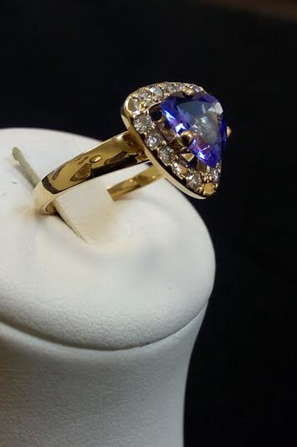 Tanzanite  Trillion 1.5 Ct.  Ring 14K Yellow Gold