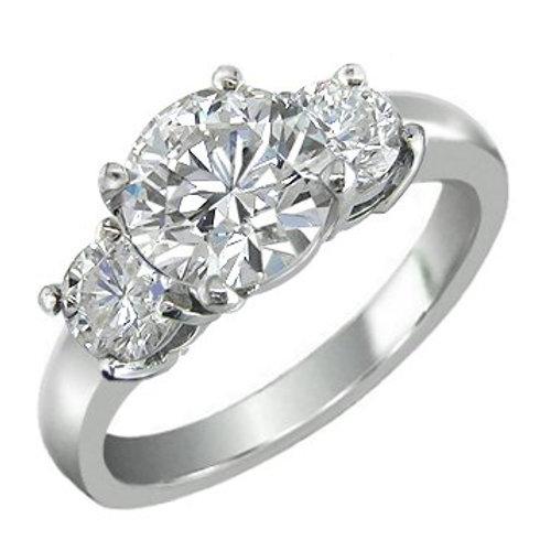 1/4 Ct. 3 Stones Diamond Ring 14K white Gold