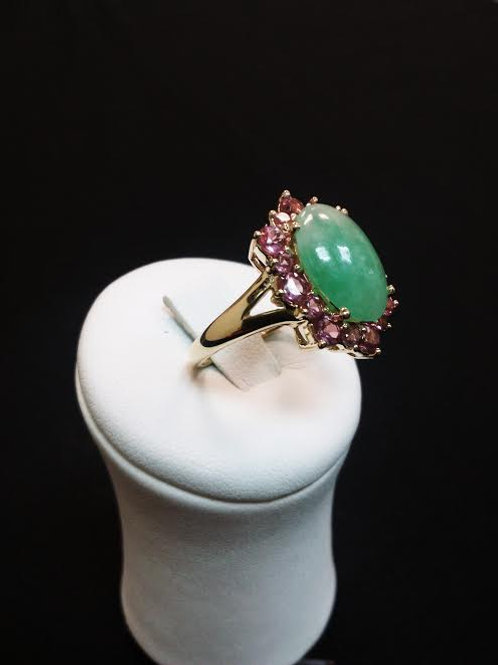 Ring 14K Yellow Gold  Jade and Pink Sapphire