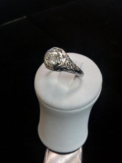 Antique ring 18K White Gold Art Deco,1/2 Ct. Center Stone