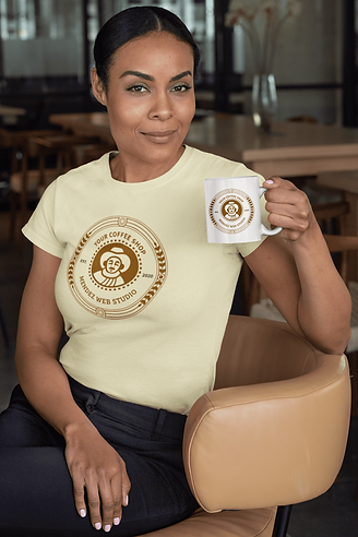 Branded mockup of a woman holds your mug, wearing your T-shirt. Made in 10 minutes with this Digital Content Creator.
